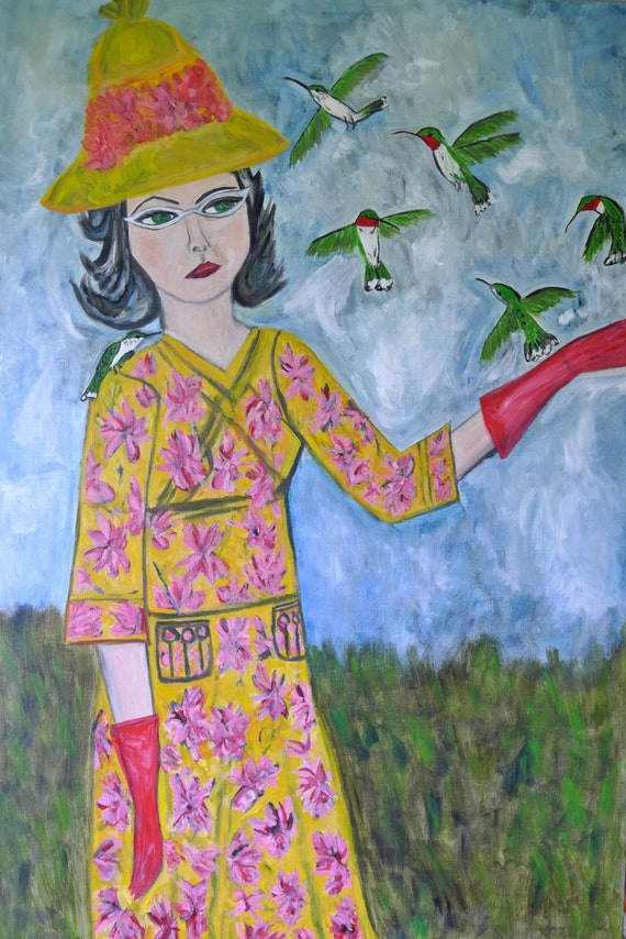 A charm of hummingbirds.  Original oil painting by Vivienne Strauss.