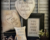 Primitive Country Wedding embroidery Pattern PDF - sew stitchery 4 projects anniversary love pillow bride groom