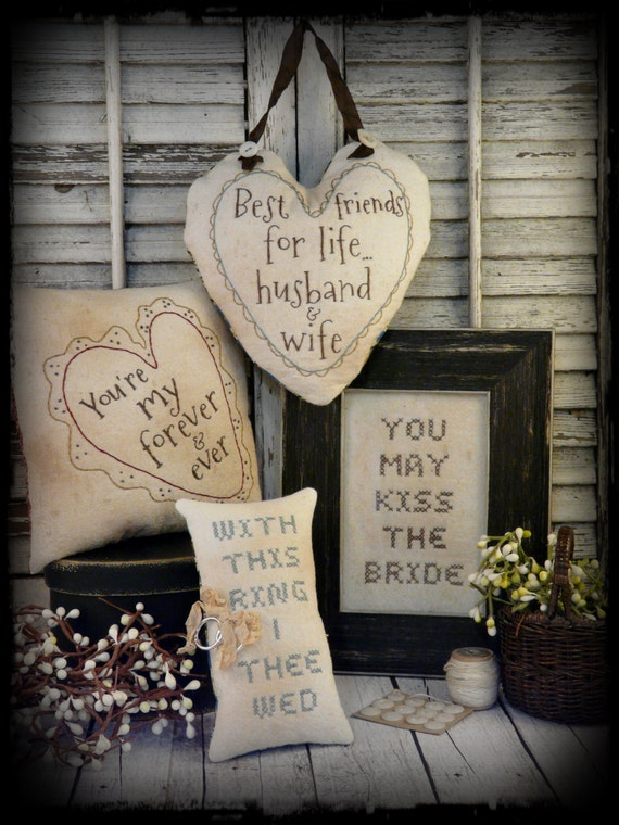 Primitive Country Wedding embroidery Pattern - pdf instant download sew stitchery 4 projects anniversary love pillow bride groom