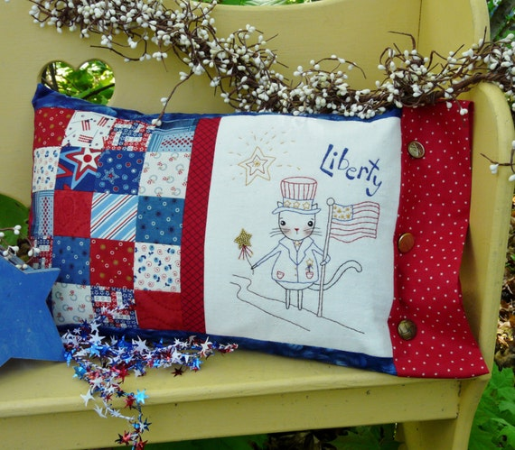 Liberty patchwork cat embroidery PDF Pattern - primitive stitchery Kitty Flag Stars pillow uncle sam