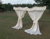 RESERVE Vintage Ruffled Curtains Ivory Ruffled Drapes Ruffled Panels Window Treatment French Country Cottage Prairie Ruffles Ivory Curtains