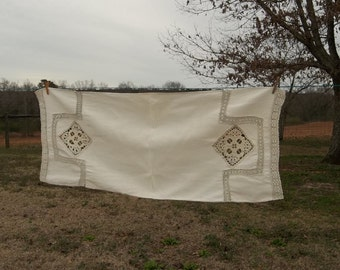 Vintage Linen Runner Antique Table Runner Crochet  Farmhouse French Country Wedding Decor Table Settings Cottage Chic Prairie Ecru Runner