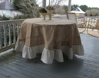 "90"" Ruffled Burlap Tablecloth French Country Handmade Ruffed Tablecloth Round Floor Length Wedding Decor Table Settings"