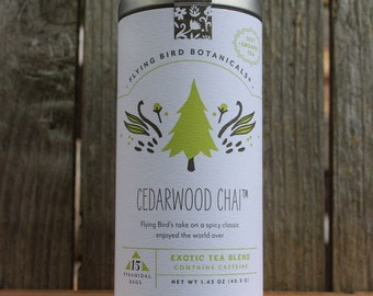 0430 Cedarwood Chai 15bag tin, crafted with organic teas, herbs and spices