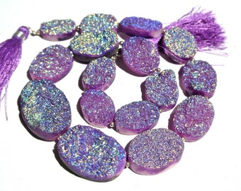 14 Inches Sparkling Purple Titanium Drusy Agate Oval Beads Size 18x13 - 29x20mm Approx Druzy Oval Beads, Drusy Pendants,Charm