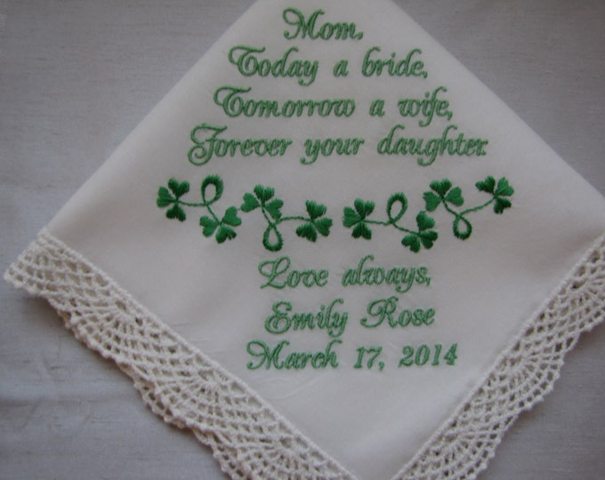 Personalized Shamrock Wedding Handkerchief for Bride, Bridal Party or Parent Gift