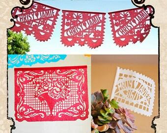 Set - LOS NOVIOS papel picado - Save 10% - custom wedding banners and flags