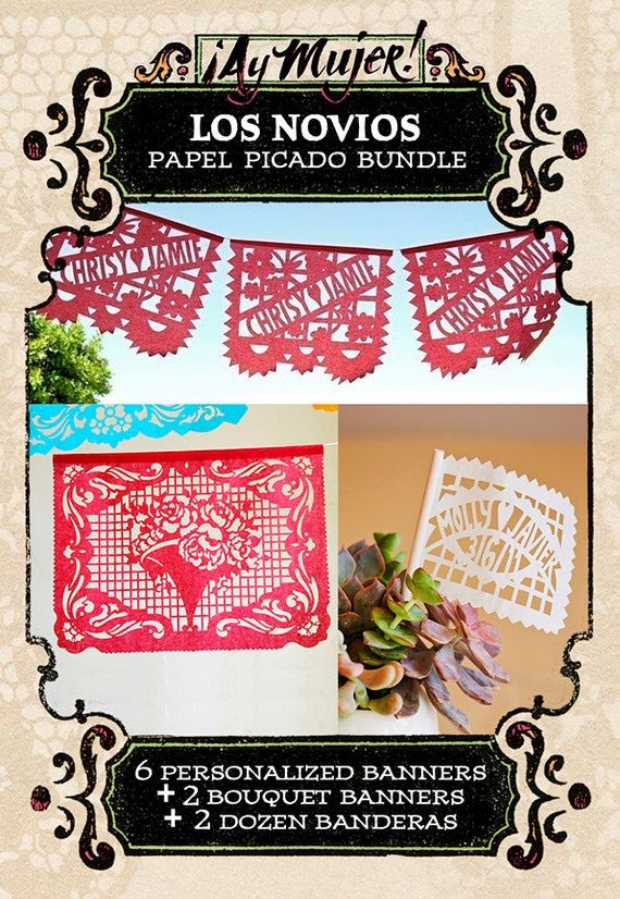 LOS NOVIOS papel picado bundle - Save 10% - personalized banners and flags