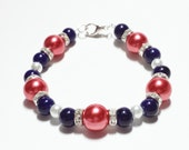 Reserved Listing Flower Girl Bracelets Coral Navy Pearls Crystals Ceramic Beads