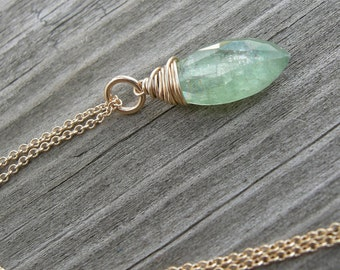 Sage Green Kyanite Gold Wire Wrapped Pendant