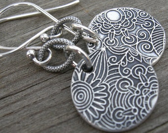 Sterling Silver Groovy Doodle Link Coin Earrings PMC
