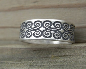 MADE TO ORDER Helena Ring Sterling Silver Stacking Ring Band Graphic Pattern