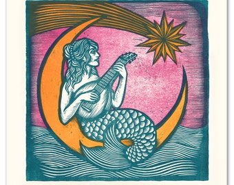 "Mermaid.  19.625""x19.625"" 3 color woodcut."