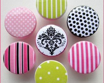 Damask Drawer Knobs • Damask • Stripe • Polka Dot • Drawer Pulls • Hot Pink • Lime • Dresser Knobs