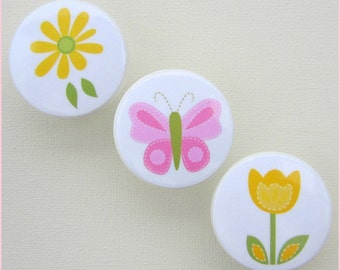 Butterfly Knobs • Drawer Knobs • Butterfly • Daisy • Tulip • Pink • Yellow • Drawer Pulls • Dresser Knobs • Drawer Handles