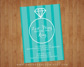 Set of 10 Last Fling Before the Ring Bachelorette or Bridal Shower Invitation