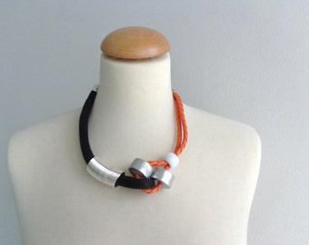 Black orange silver statement necklace