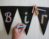 Reusable Chalkboard Pennants // Chalkboard // Pennant Banner // Party Decorations // Fabric Pennant // Custom // Wedding // Baby Shower