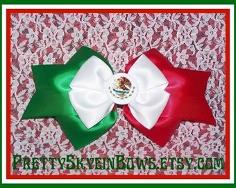 Large Layered Mexican Flag Boutique Hair Bow Clip