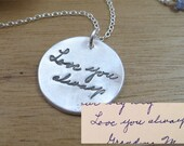 Handwriting Necklace Handwriting Jewelry Personalized Jewelry Keepsake Remembrance Gift Jewelry Eco Friendly Memorial Jewelry - Written