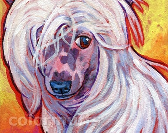 Hairless CHINESE CRESTED Dog Portrait Original Art Painting 8x8 by Lynn Culp