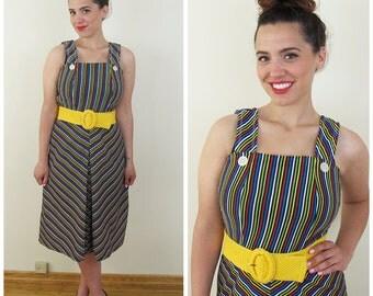 70s Black Multi Color Striped Sun Dress, Size Small to Medium