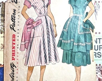 1950s Womens Dress and Apron Pattern - Simplicity 3549