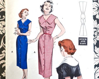 Vintage 1950s Women Dress Pattern - Sleeveless or Short Sleeves, Button Front - Butterick 6876
