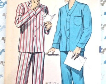 Vintage 1950s Mens Pajamas Pattern - Advance 5878