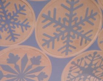 die cut cling on snowflakes
