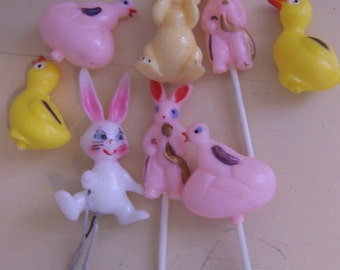 eight tiny plastic spring cuties figurines