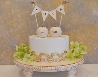 Wedding cake topper...at last apples and fabric LOVE banner included ... rustic fall autumn woodland shabby chic table decor, package deal