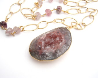 Druzy Pendant On Quartz And Chain Necklace, Gold Chain, Dove Gray, Dusty Rose, Chunky, 24 Inches