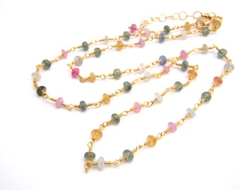 Sapphire Necklace, Rosary Style, Gold, Pink, Blue, Green, Modern, Dainty, September Birthstone