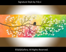 """Colorful Abstract painting Heavy Texture Impasto Palette Knife Tree Flower Love Birds """"Colours of Love"""" by QIQIGALLERY"""