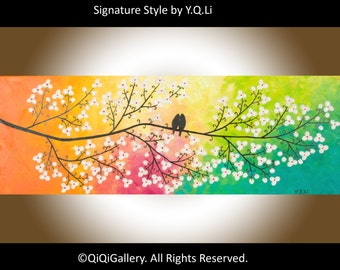 "Colorful Abstract painting Heavy Texture Impasto Palette Knife Tree Flower Love Birds ""Colours of Love"" by QIQIGALLERY"