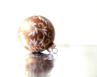 Gold and White Ornament Hand Painted Glass Ornament