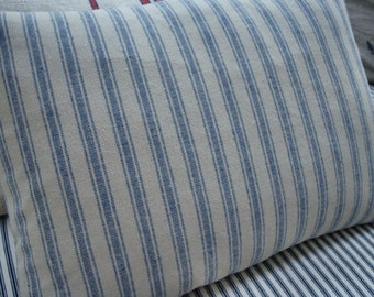 French Cottage DOWN FeaTHeR Pillow Linen Ticking BluE and CReaM Paris Shabby Chic Stripe 14x18 Insert
