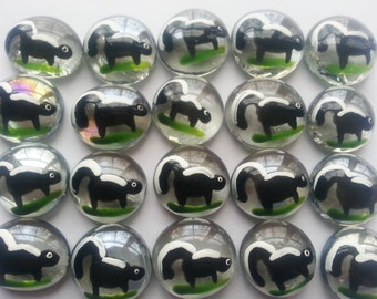Skunk hand painted glass gems party favors
