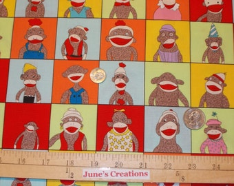 Moda Fabric Funky Monkey Sock Monkey Blocks Red Brown One Yard 100% Cotton Quilting Sewing Child Play
