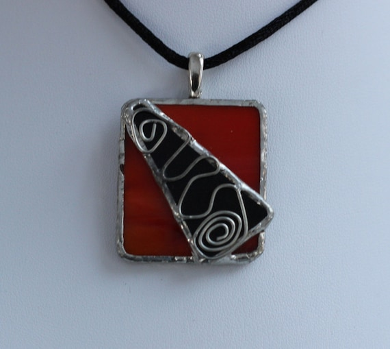 Square  Red  Stained Glass Pendant with Black Glass Accent