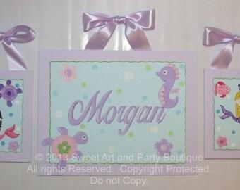 Mermaid, canvas wall art, personalized, mermaid nursery, mermaid decor, seahorse, turtle, canvas name sign, mermaid painting, monogram art