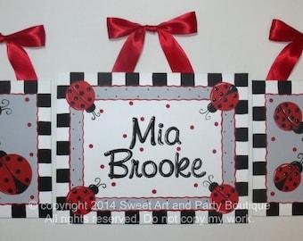 Ladybug, nursery wall art, canvas name sign, Personalized, Custom wall art, ladybug nursery art, red, black, nursery art set, hand painted