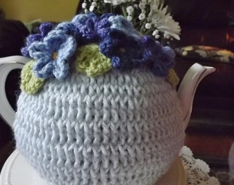 Blue Crochet Tea Cozy, Crochet Tea Cozy, Forget-Me-Not Tea Cozy, 4 - 6 Cup Tea Cozy