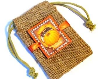 Burlap favor bags - Thanksgiving favor bags - Pumpkin - Fall Wedding - Halloween