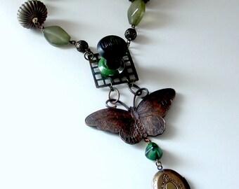 Old Flame moth lighter assemblage necklace . unusual antique cigarette lighter gothic noir lovers memento vintage locket statement  ooak