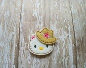 Kitty With Hat Felt Applique,  White Kitty Applique, Kitty Applique,  Set of 4 Kitty Appliques, Kitty With Cowboy Hat Applique