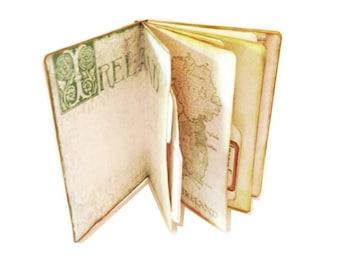 Ireland Travel Journal, Trip to Ireland, Irish Journal, Dublin Diary, Green Journal,  Four Leaf Clover,  Secret Pocket Diary, Irish Diary