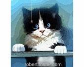 cat art print. kitten - tuxedo kitty - print - ITSY BITSY - pet, signed, eensy weensy, spider, baby cat, fuzzy, cute, cuddly, black  white