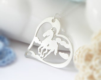 Horse Necklace, Heart, Sterling Silver